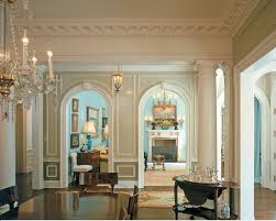Gorgeous interior with beautiful architectural details. Luxuries crown  molding and wall panels; interior design and molding ideas