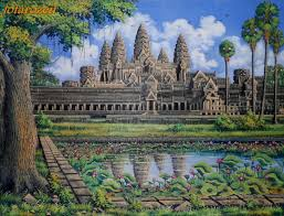 angkor wat reflections in lily pond