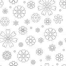 塗り絵の概要花のシームレスなパターン美しい花の背景色のアートワークモノクロの背景夏の花を描きます着色