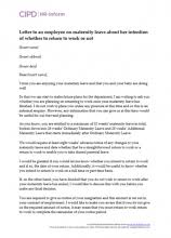 How To Write A Maternity Leave Letter For Work Maternity Leave And Pay Cipd Hr Inform