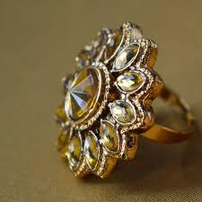 Flower Design Diamond Ring Antique Adjustable Flower Design Gold Plated Big Size Wedding Finger Ring For Women