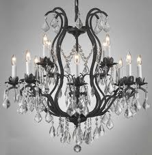 vintage black rustic iron crystal chandelier for bedroom or dining room as well as living room