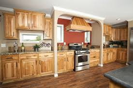 Hickory Cabinets With Dark Wood Floors Honey Spice Cupboards Using  Orange Paint Color O47