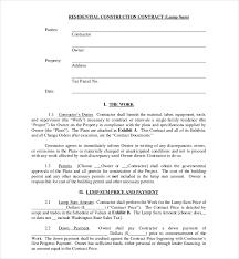 Sample Construction Contract Lump Sum Agreement Template 10 Sample Construction Contract Forms