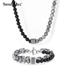 Designing Jewelry With Glass Beads Us 12 88 40 Off Unique Design Natural Map Stone Bracelet Necklace Set Black Glass Beads Jewelry Sets For Men Women Birthday Party Jewelry Gift On
