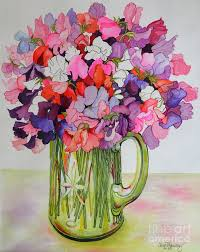 sweet pea painting sweet peas in a glass jug by joan thewsey