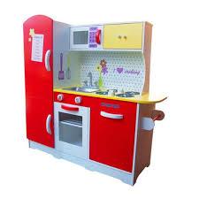 description red super big size wooden play pretend toy kitchen