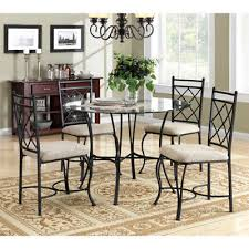 5 piece gl top metal dining set table chairs clic style kitchen dinner