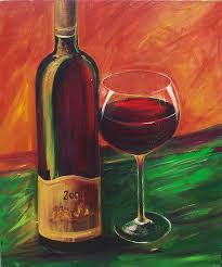 Wine bottle and wine glass canvas print size 16x20 made from my original  acrylic painting with