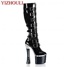 fang heel tall female boots soft leather black appeal new female thick high heel shoe 18 centimeters boots for girls fur boots from clownie