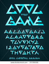 Abstract Triangle Alien Font Vector Alphabet Alien Font