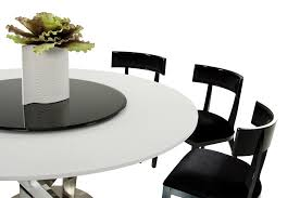 modern round white dining table with lazy susan mouse over image to enlarge