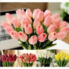 <b>10PCS</b>/<b>Lot Tulip Artificial Flower</b> TPU Bridal Wedding Bouquet ...