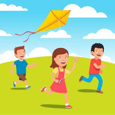playing cartoon kid with kite cartoon vector free download