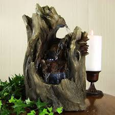 Waterfall Home Decor 3 Tier Indoor Outdoor Log Wood Falls Water Fountain For Tabletop