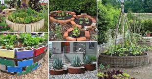 a round garden bed with recycled things