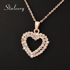 details about women charm hollow crystal heart pendant necklace chain 18k rose gold xl610