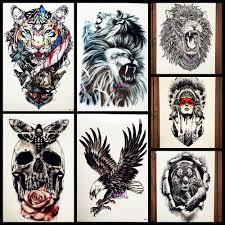 прохладный большая голова льва татуировки водонепроницаемый руку