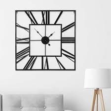 60cm rustic metal wall clock black
