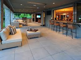 Attractive Windows That Fold Back, Outdoor Kitchen, Couch And Breakfast Bar Amazing Design