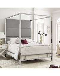 Mercury Row Mercury Row Moyers Upholstered Canopy Bed Color: Gray/Chrome, Size: Queen from Wayfair North America | Martha Stewart