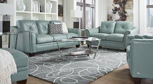 leather living room furniture. Cindy Crawford Home Marcella Spa Blue Leather 3 Pc Living Room - Rooms (Blue) Furniture
