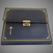 1920 s slate french blue leather tooled writing stationery case by c black tulip antiques ltd ruby lane