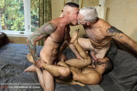 Threesome daddy mature gay