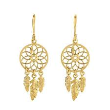 Dream Catcher Earings Awesome 32k Yellow Gold Shiny And Textured Drop Dream Catcher Earrings Fish