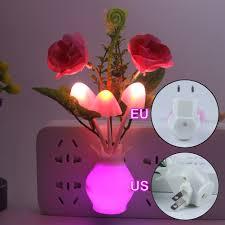 Us 1 06 17 Off Led Colorful Flower Night Lights Light Sensor Luminous Lamp Eu Plug Sensor Light For Home Bedroom Wall Decoration In Led Night Lights