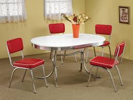 1950s Kitchen Furniture Retro 1950s Style 5pc Vintage Look Dining Set Red And Chrome