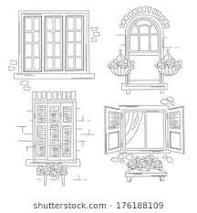 window drawing. Plain Window Set O Retro Windows Isolated On White Background Hand Drawing Illustration Inside Window Drawing T