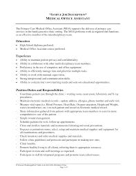 Medical Assistant Job Description Resume Drupaldance Com