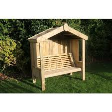 cottage arbour seats three wooden