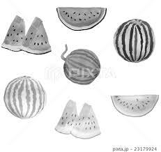 墨絵 西瓜 スイカ フルーツのイラスト素材 Pixta