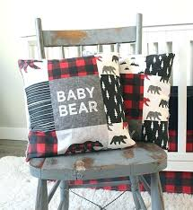 plaid crib sheet baby bear woodlands bedding red skirt black fitted trees buffalo deer quilt boy buffalo plaid nursery