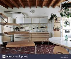 Terracotta Kitchen Floor Modern Kitchen With Wood Ceiling And Terracotta Floor Stock Photo