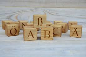 30 wooden german alphabet letter blocks handmade abc blocks wood letter cubes natural toy building blocks birthday gift idea
