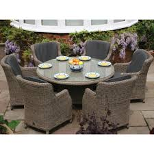 bali round table outdoor dining furniture set 6 person