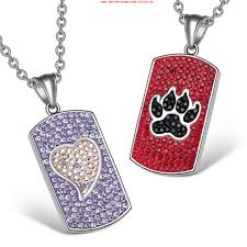 heart wolf paw austrian crystal love best friends dog tag purple white red black necklaces ryrjxtp6
