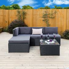 5 piece faro modular rattan corner sofa set in black with dark cushions includes free protective