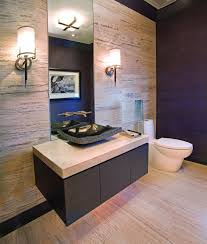 Luxury Elegant Beige Interior Powder Room Style With Floating Wooden Black  Beige Rectangle Elegant Countertop Vanity