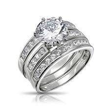 Round Cut Cz 3 Piece Bridal Engagement Ring Set Sterling Silver