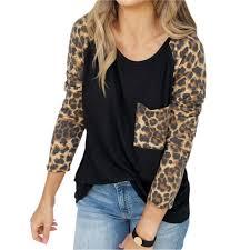 pocket leopard patchwork streetwear fashion lady women t shirts basic tees tops 2019 spring plus size o neck femme tshirts m0254 cartoon t shirts urban t