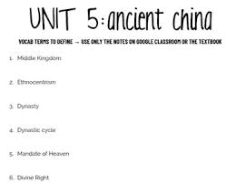 Ancient China Dynasty Chart Vocabulary