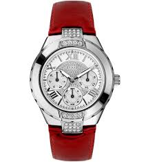 new guess croc red leather strap watch u65006l3 crystal new with tags for r701 00