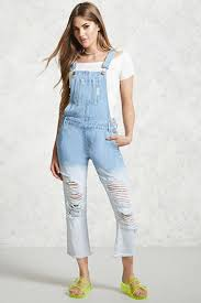 Light Denim Overalls Distressed Dip Dye Overalls