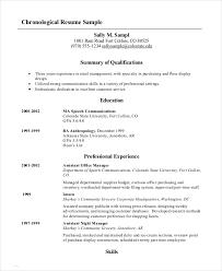 Resume Template Chronological Format Modern Free Chronological Resume Template 18516 Butrinti Org