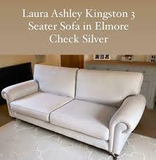 Laura Ashley 3 Seater Kingston Sofa Elmore Check Silver (Pale Grey)   in  Daventry, Northamptonshire   Gumtree