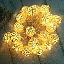 rattan ball string lights 30 led warm white globe ball lamp lights 3m 9 8 ft fairy